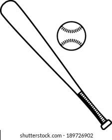 Baseball bat and baseball vector illustration
