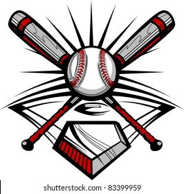 Baseball Bats and Ball Graphic Image Template