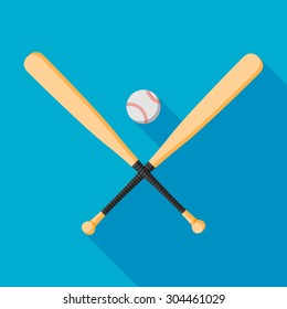 baseball bats and ball icon with long shadow. flat style vector illustration