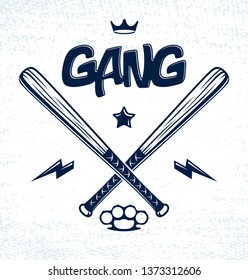 Baseball bats crossed vector criminal gang logo or sign, gangster style theme.