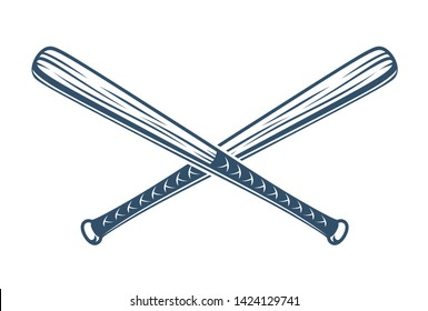 Baseball bats crossed vector logo or sign, gangster style theme.