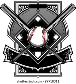 Baseball Bats, Baseball, and Home Plate or Ornate Field Vector Graphic
