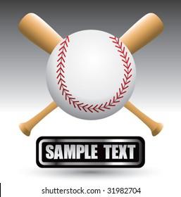baseball and bats on nameplate