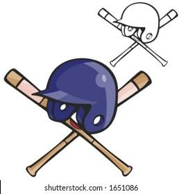 Baseball batter helmet and bats. Vector illustration