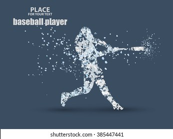 Baseball Batter Hitting Ball, particle divergent composition, vector illustration