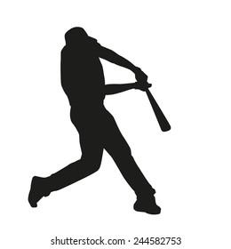 Baseball Batter Hitting Ball. Vector silhouette