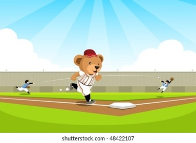 Baseball bear running to base A cuddly bear running on the baseball field to the nearest base, on the background the kid player trying to catch the ball.