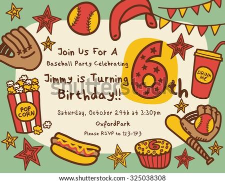 baseball birthday party invitation stock vector royalty free