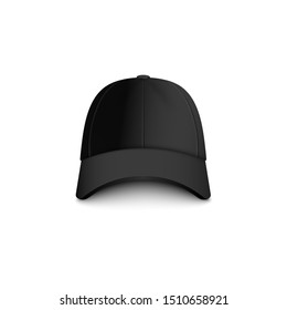 Baseball black blank cap front view for sport team or company uniform clothing design, 3d photo realistic vector mockup illustration isolated on white background.