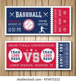 Baseball blue red tickets with sports equipment player and barcode on wooden background isolated vector illustration