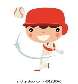 baseball boy. american national sports character.