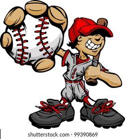 Baseball Boy Cartoon Player with Bat and Ball Vector Illustration