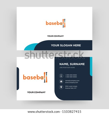 Baseball business card design template visiting stock vector baseball business card design template visiting for your company modern creative and clean friedricerecipe Images
