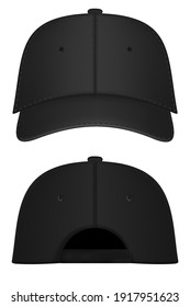 Baseball cap black template. Design template closeup in vector. Realistic back front and back view black baseball cap isolated on white background.