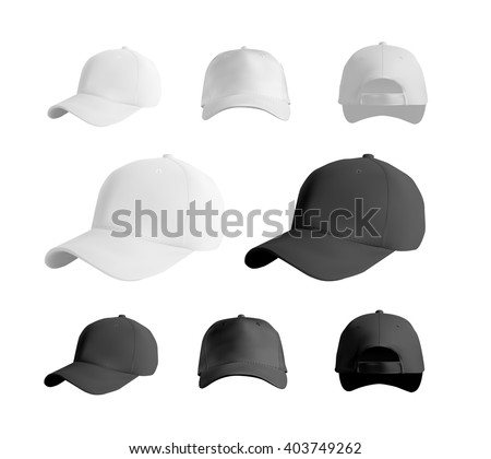baseball cap black white templates front のベクター画像素材