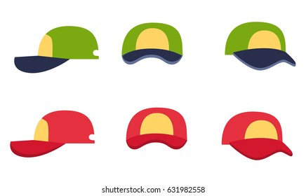 Baseball cap collection, front, back and side view on white background. Green and red color summer headwear. Vector illustration in cartoon style flat art design for infographics, websites, app.