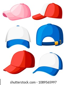 Baseball cap. Collection of various caps. Blue, white, pink and red colors. Summer hats for children and adults. Cartoon style design. Vector illustration isolated on white background.