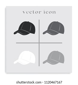Baseball cap flat black and white vector icon.