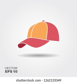 Baseball cap flat vector icon with shadow. Illustration