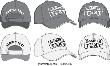 Baseball cap, front, back and side view. Vector illustration. Color redact easy.