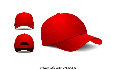 Baseball cap. Front, left, back view. Vector illustration on white background