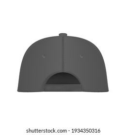 Baseball cap gray template. Design template closeup in vector. Realistic back view white baseball cap isolated on white background.