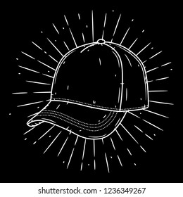 Baseball cap. Hand drawn vector illustration with baseball cap and divergent rays. Used for poster, banner, web, t-shirt print, bag print, badges, flyer, logo design and more.