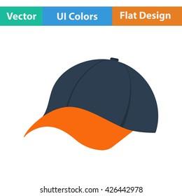 Baseball cap icon. Flat design. Vector illustration.