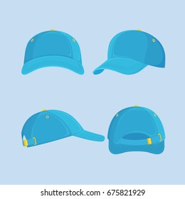 Baseball cap isolated on background. Set of man hat for cricket. Front, side, back views. Sportive headwear, sport accessory. Vector illustration. Flat style design