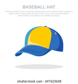 Baseball cap isolated on background. Man hat for cricket. Front views. Sportive headwear, uniform, sport accessory. Vector illustration. Flat style design