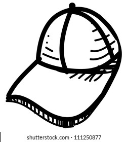 Baseball cap isolated on white. Hand drawing sketch vector illustration