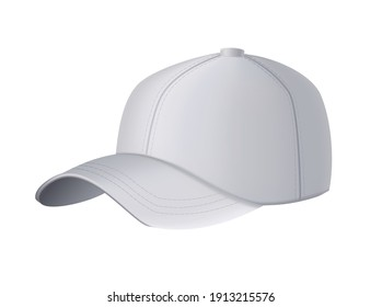 Baseball cap. Realistic baseball cap template front view. Empty mockup sport hat. Gray blank cap isolated on white background. Blank template of baseball uniform cap
