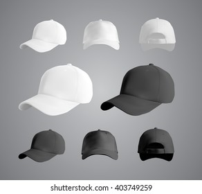 Baseball cap set, front, side, back views, vector eps10 illustration