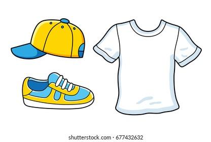Baseball cap, sneaker, white t-shirt. Icons isolated.
