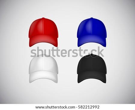 baseball cap template collection uniform fashion stock vector