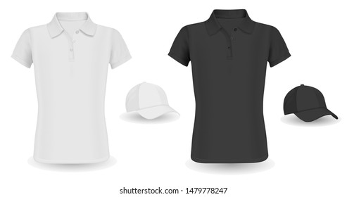 Baseball Cap Template and Polo Shirt Mockup. Black and White Vector Tshirt isolated on Background. Realistic Wear Outfit Short Sleeve Polo Promotion. Shirt with Collar, Visor Hat Casual Clothing