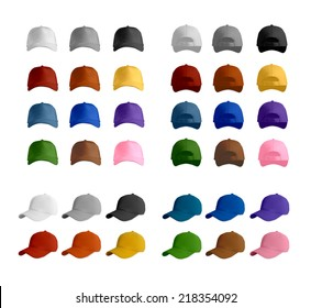 Baseball cap template set, vector eps10 illustration.