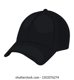 Baseball cap vector icon on a white background. Black hat illustration isolated on white. Headwear realistic style design, designed for web and app. Eps 10
