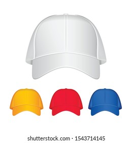 Baseball cap. Vector realistic illustration. Front view. Different colours for your design
