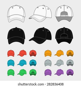 Baseball cap vector template set. Uniform fashion, blank hat, design sport clothing. Vector illustration
