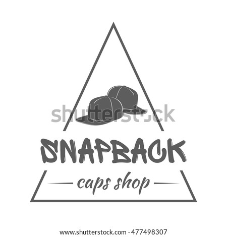 Baseball caps shop logo. Triangular label with text in graffiti style on  white background. Badge for snapback hats store advertising or window  signage. 0fd7420670d7