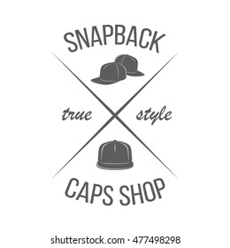 ab98e20b2b9 Baseball caps shop logotype template. Badge in modern style isolated on  white background. Monochrome