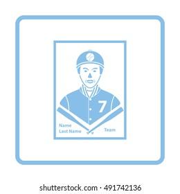 Baseball card icon. Blue frame design. Vector illustration.