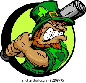 Baseball Cartoon Leprechaun on St Patricks Day Holiday Vector Illustration