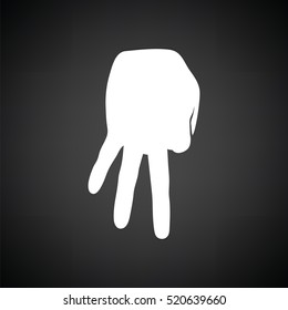 Baseball catcher gesture icon. Black background with white. Vector illustration.