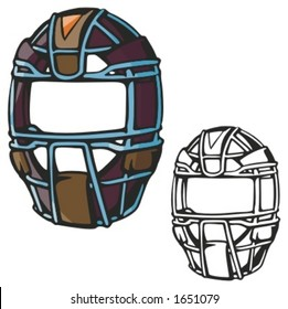 Baseball catcher helmet. Vector illustration