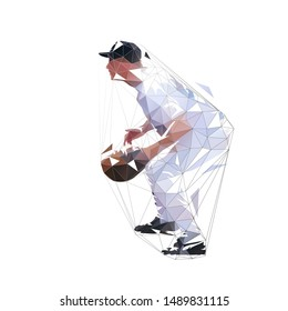 Baseball catcher, low poly isolated vector illustration. Geometric baseball player