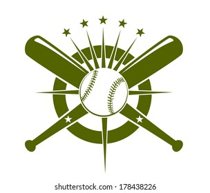 Baseball championship icon or emblem logo with a ball and crossed bats on a circle with radiating stars in olive green on white