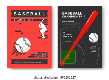 Baseball championship modern sport posters design. Vector illustration.