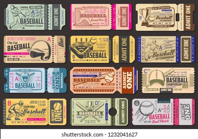 Baseball championship retro admission tickets. Sport item and sportsman in uniform with bat and ball, helmet and stadium, gold cup and cap. Numbers - absract digits
